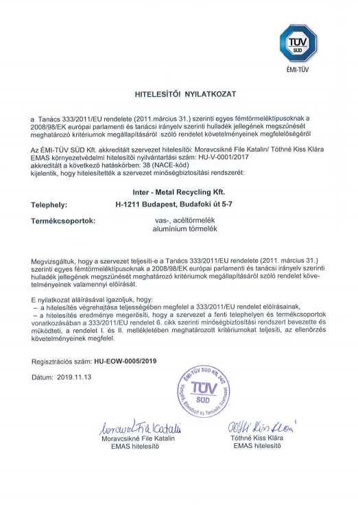Hulladék státusz vége hitelesítő nyilatkozat (vas, acél, alumínium)