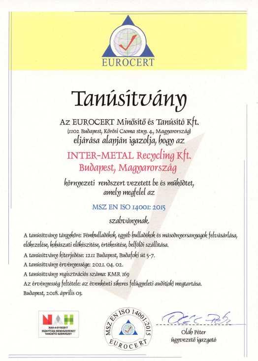 Ferrocar ISO 14001 tanusítvány