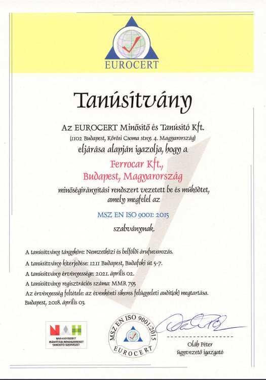 Ferrocar ISO 9001 tanusítvány
