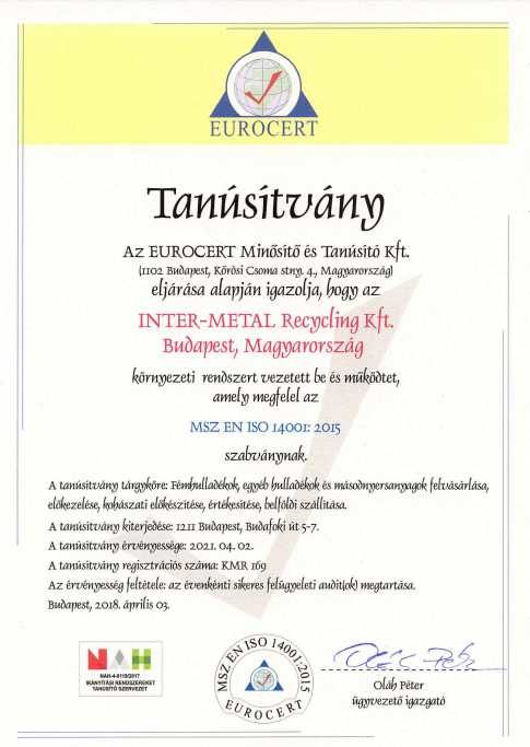 Inter-Metal Recycling ISO 14001 tanusítvány