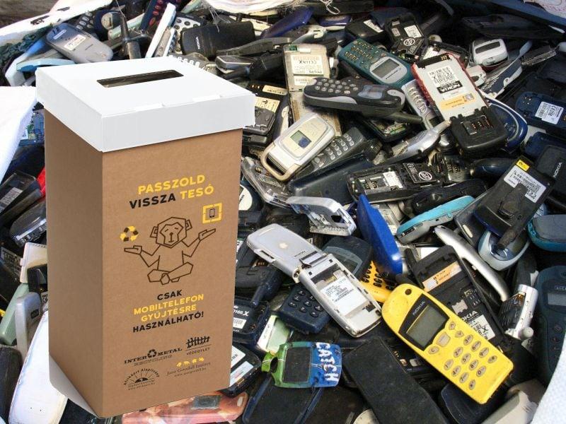 Használt mobil telefon gyűjtődoboz kihelyezése, újrahasznosítása