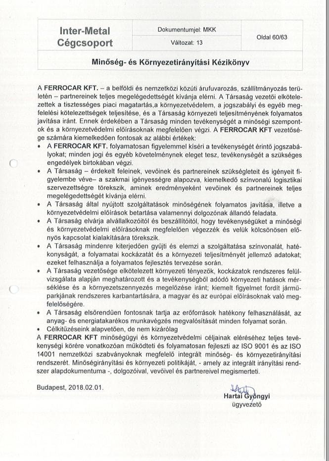 Minőség- és Környezetirányítási Kézikönyv Ferrocar Kft.